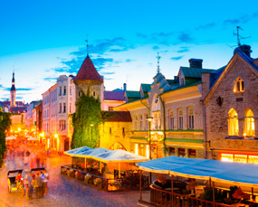 Tallinn old town by night - place to visit in Estonia