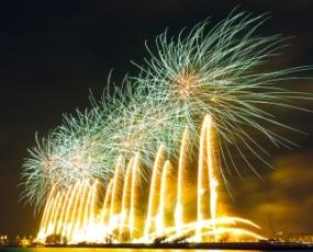 Fireworks over Daugava river