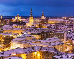 Winter night aerial scenery of Tallinn x