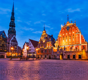 Riga by night, Latvia