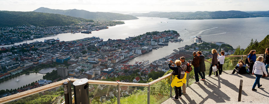 Tourists enjoying a panoramic view of Bergen