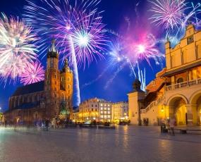 New Years firework in Krakow